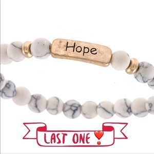 """Jewelry - White """"Hope"""" etched beaded bracelet"""